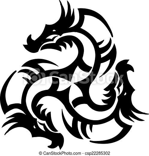 Dragon tattoo design, vintage engraving. - csp22285302