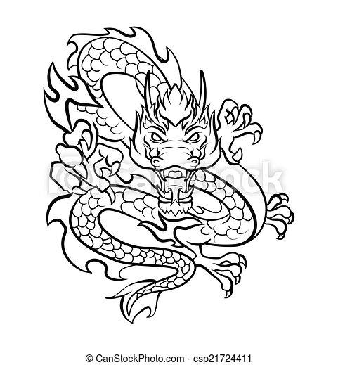 Dragon Tattoo Vector Illustration - csp21724411