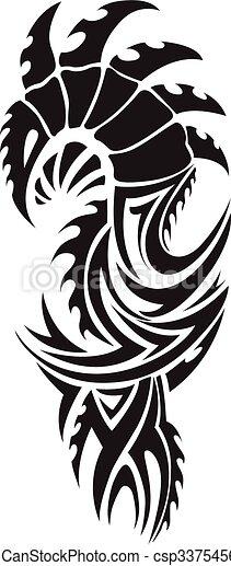 Dragon tattoo, vintage engraving. - csp33754569