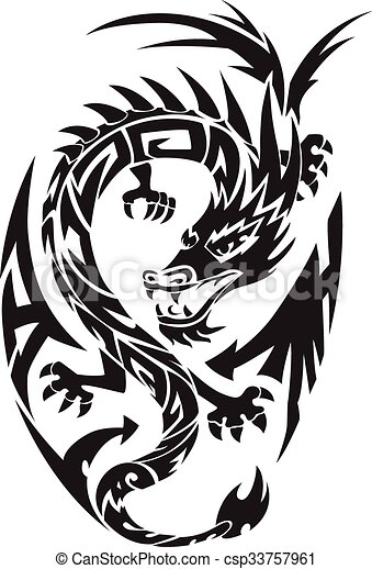 Dragon tattoo, vintage engraving. - csp33757961