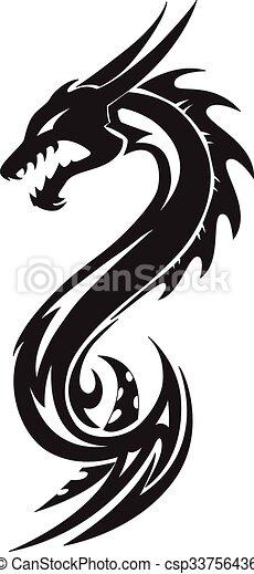 Dragon tattoo, vintage engraving. - csp33756436