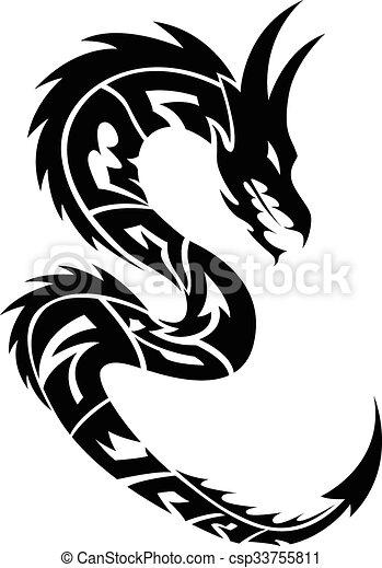 Dragon tattoo, vintage engraving. - csp33755811