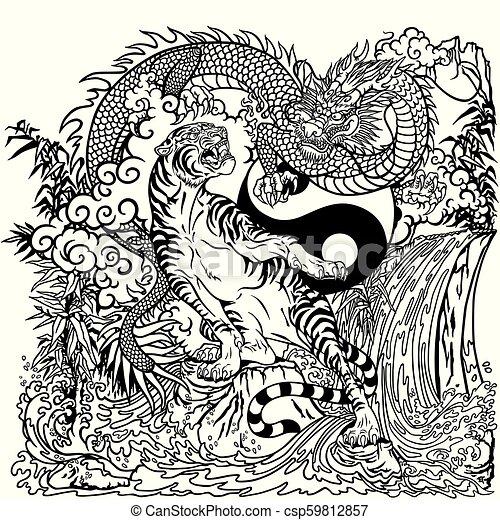Dragon Versus Tiger Yin Yang Coloring Page Chinese Dragon Versus