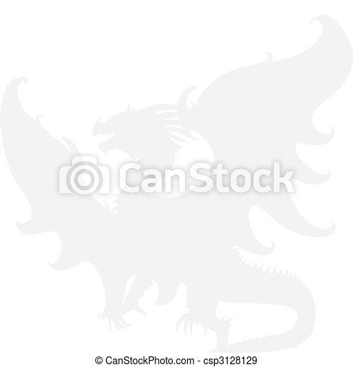 dragon., vettore, medievale - csp3128129