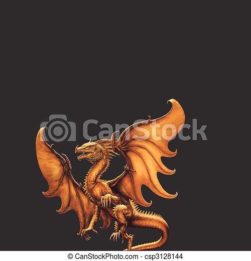 dragon., vettore, medievale - csp3128144