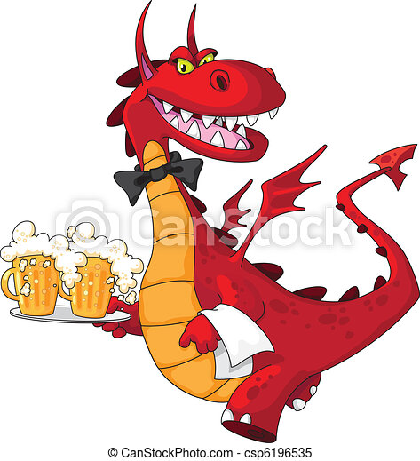 dragon waiter with beer - csp6196535