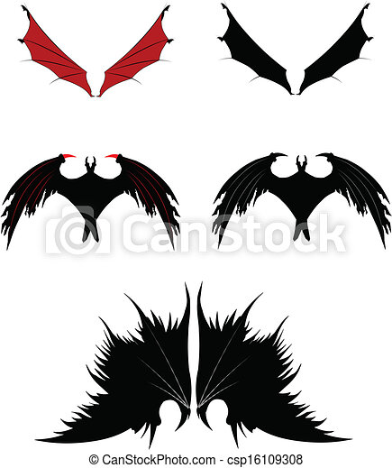 vector clipart of dragon wings - wings in silhouette for fantasy