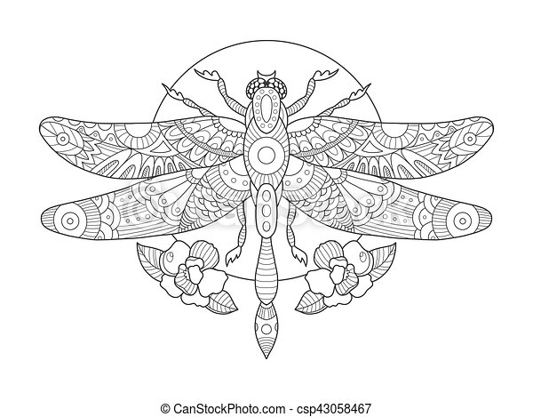Dragonfly Coloring Book For Adults Vector