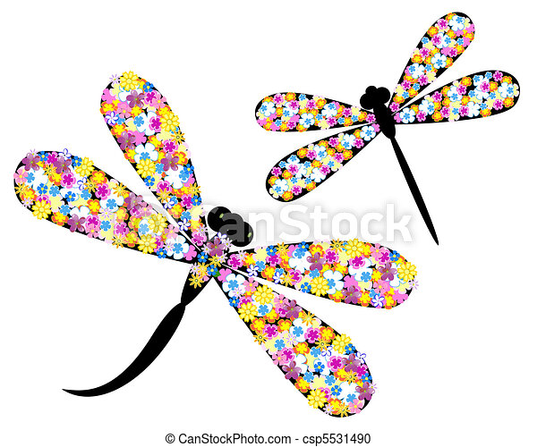 Dragonfly in flowers - csp5531490