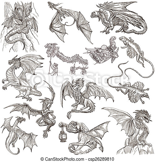 Dragons. An hand drawn freehand sketches. Originals. - csp26289810