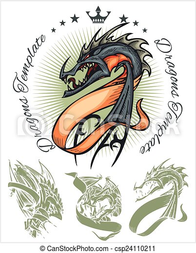Dragons and ribbons - vector set. Stock illustration. - csp24110211