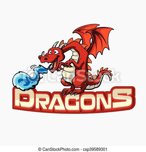 dragons banner illustration design - csp39589301