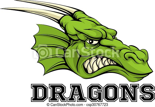 Dragons Mascot An Illustration Of A Cartoon Dragon Sports Team Mascot With The Text Dragons