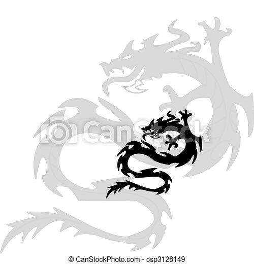 dragon.vector, silhouette, nero - csp3128149