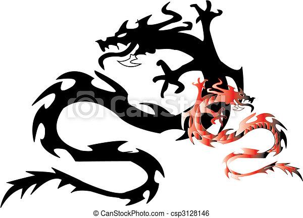 dragon.vector, silhouette, nero - csp3128146