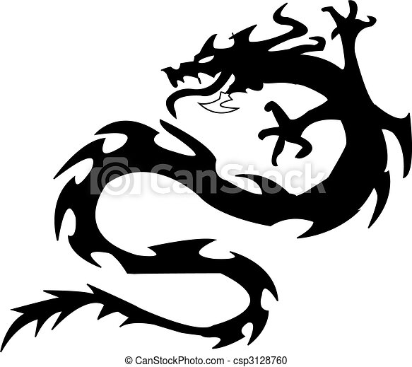Dragonvector Silueta Ilustración Negro Negro Blanco Silueta