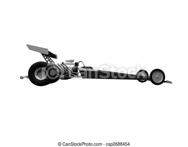 dragster, bovenkant, vrijstaand, aanzicht - csp2688454