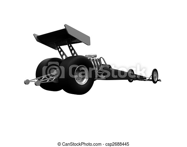 Dragster isolated back view 01 - csp2688445