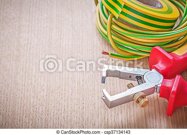 Draht, elektrisch, kabel, hölzern, bo, isolieren, band, zange ...