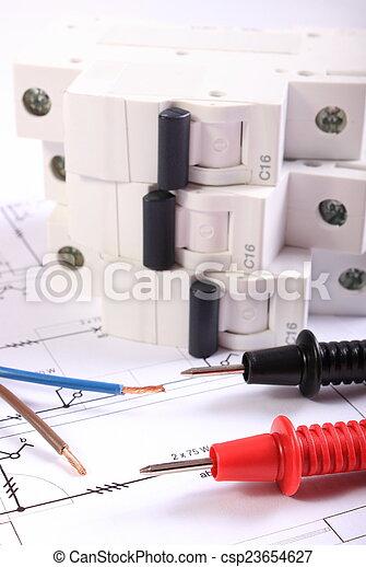 Draht, elektrisch, sicherung, multimeter, kabel, zeichnung ...