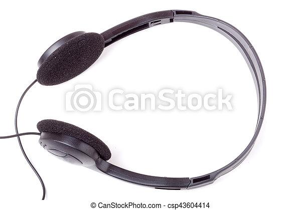 Draht, kopfhörer, freigestellt, schwarzer hintergrund ...