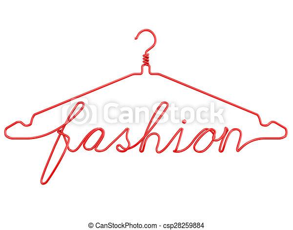 Draht, mode, kleiderbügel, rote kleidung. Draht, render,... Stock ...