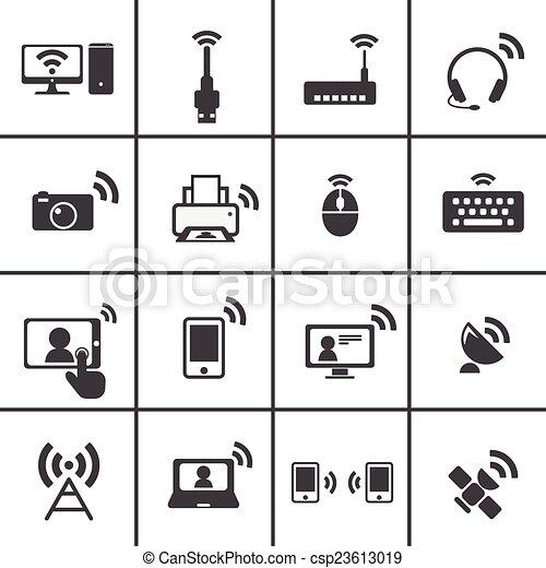 Drahtlose kommunikation, &, ikone.