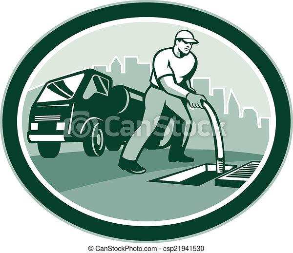 Drainage Unblocking Drain Surgeon Oval Retro - csp21941530