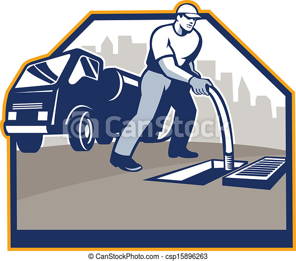 Drainage Unblocking Worker Retro - csp15896263