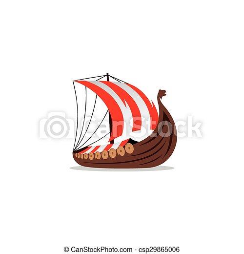 Viking Transport Ship Vector Illustration