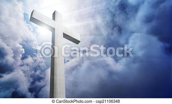 dramático, nuvens, crucifixos, brilhar - csp21106348