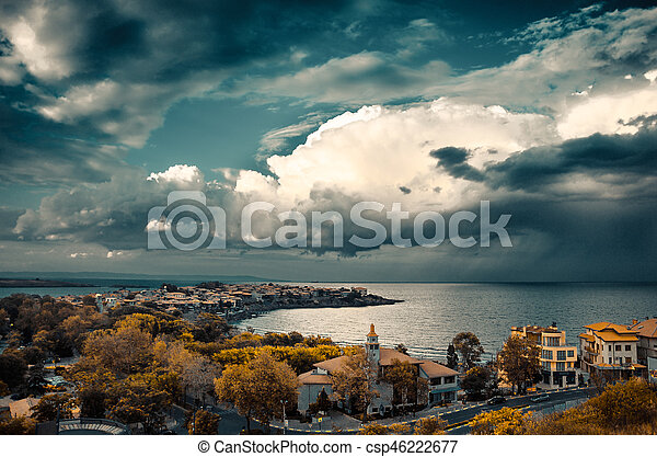 dramatic clouds over the sea - csp46222677