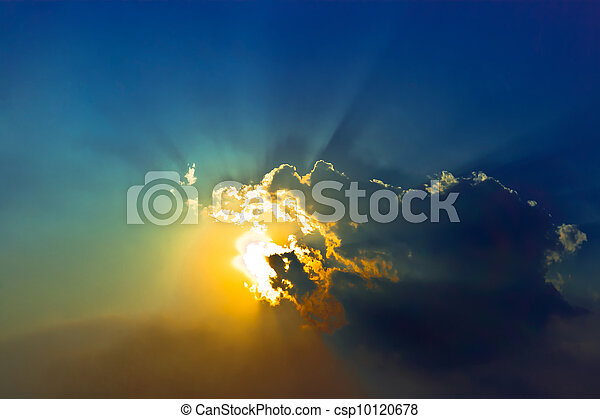 dramatic cloudscape in blue sky - csp10120678