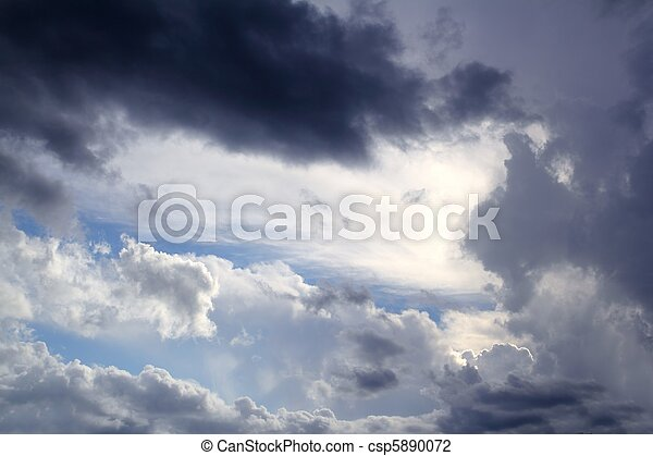 Dramatic cloudscape sky gray stormy clouds - csp5890072