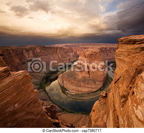 Dramatic Desert Canyon Sunrise - csp7380717