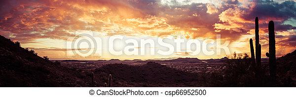 Dramatic Desert Sunset Panorama - csp66952500