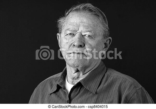 Dramatic portrait of sad old man - csp8404015