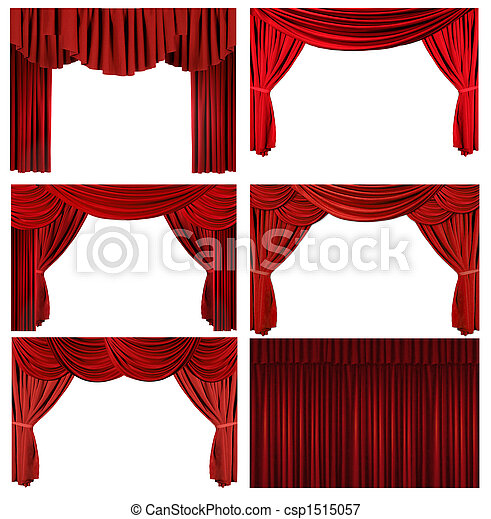 Dramatic red old fashioned elegant theater stage elements - csp1515057