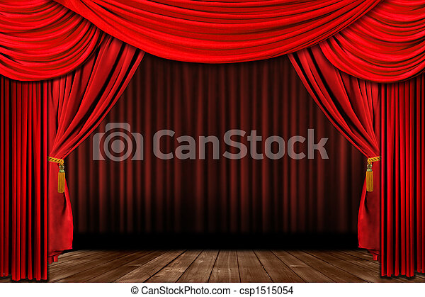 Dramatic red old fashioned elegant theater stage - csp1515054