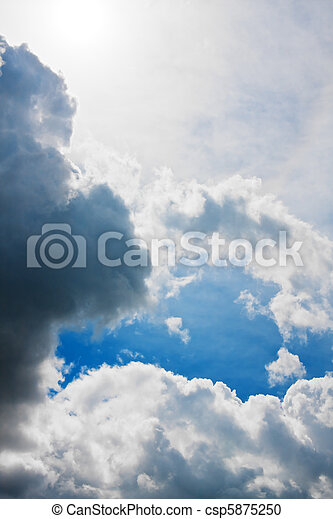 Dramatic sky with dark thunderclouds - csp5875250