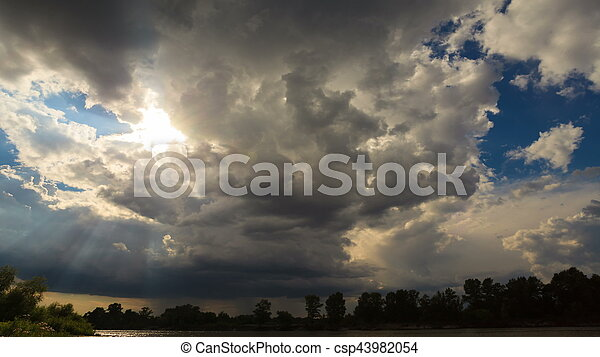 Dramatic storm sky background. - csp43982054
