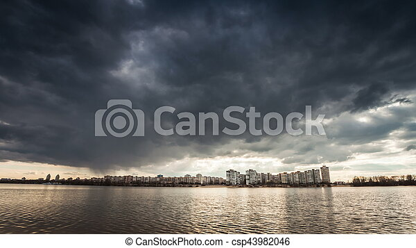 Dramatic storm sky background. - csp43982046
