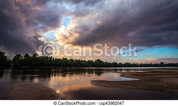 Dramatic storm sky background. - csp43982047