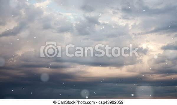 Dramatic storm sky background with snow. - csp43982059