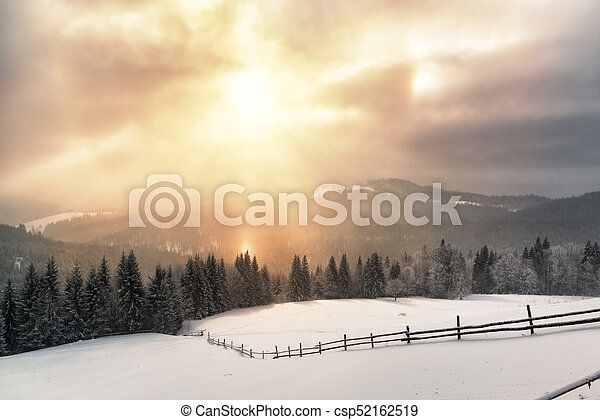Dramatic sunlight in a winter day - csp52162519