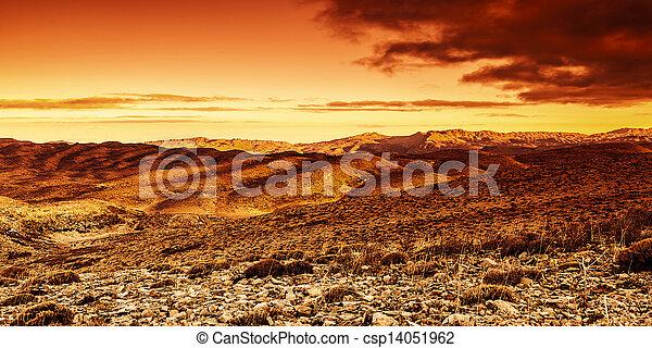 Dramatic sunset in desert - csp14051962