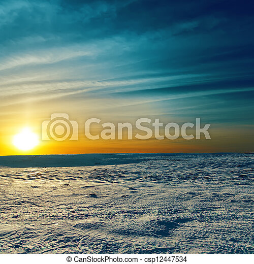 dramatic sunset in winter - csp12447534