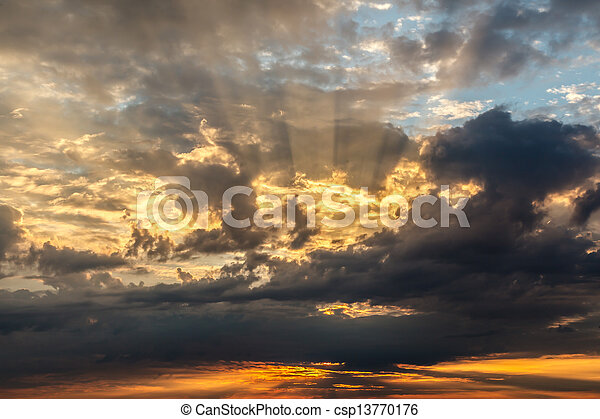 Dramatic Sunset with Red and Gold Clouds near Genoa, Italy - csp13770176