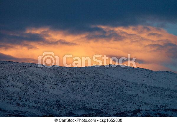 Dramatic winter sunset near Mount Ararat, Turkey - csp1652838