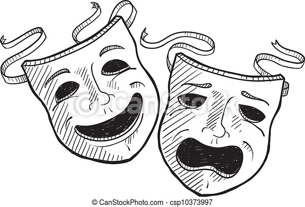 drame, croquis, masques - csp10373997